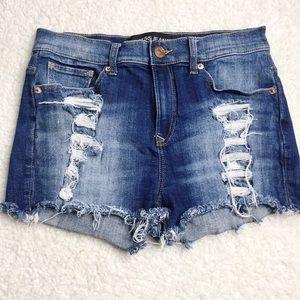 Express Denim Distressed Shorts Size 4